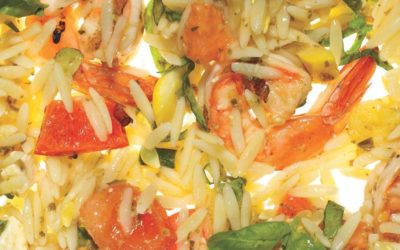 Orzo with Grilled Shrimp & Summer Vegetables